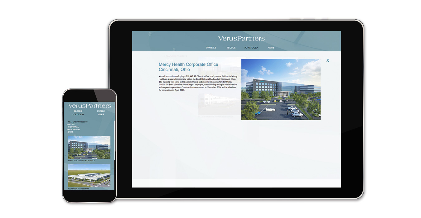 Verus Partners website on iPad and mobile