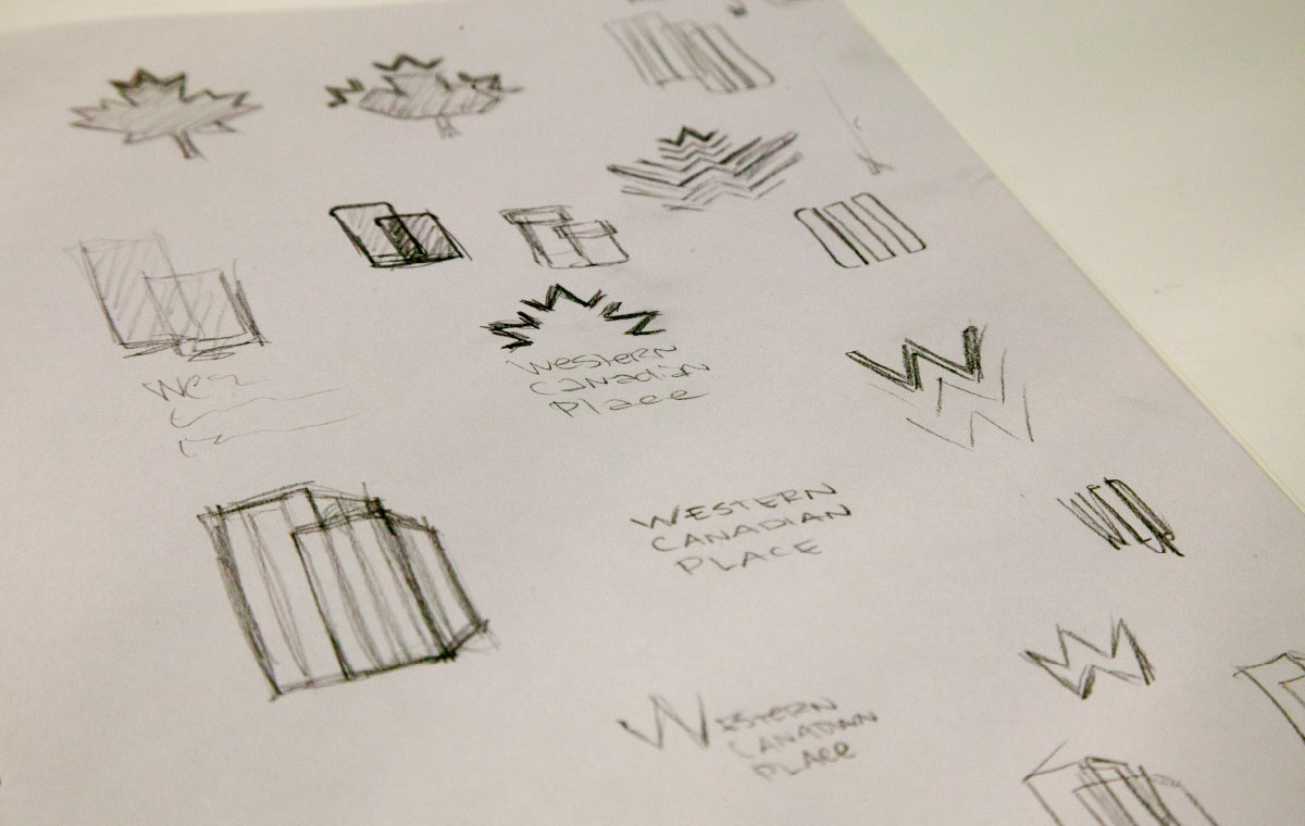 Western Canadian Place logo brainstorming sketches